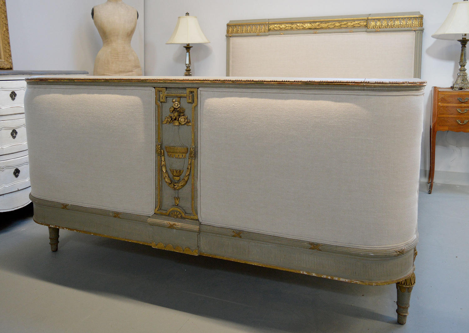 King Size Louis XVI Upholstered Bedstead