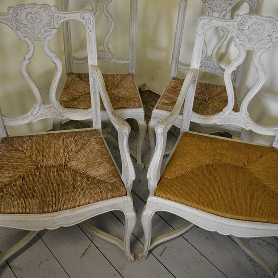 Set of six painted oak Louis XIV/XV style transition chairs