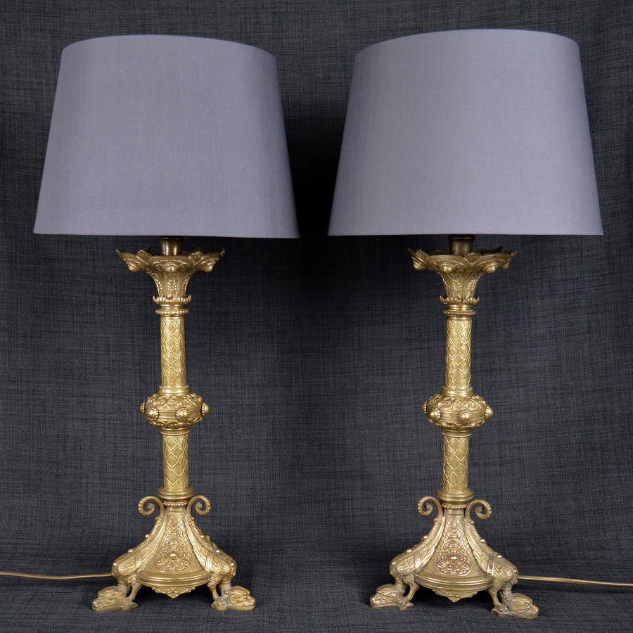 Pair of 19th Century Gilt Bronze Empire Lamps