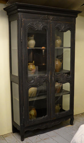 Late 18thC Louis XV style glass display cabinet / Bookcase