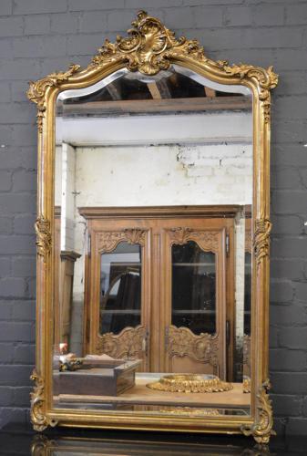 Large 19thC Louis XV style gilt mirror