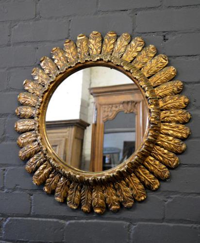 French Art Deco gilt Sun burst mirror
