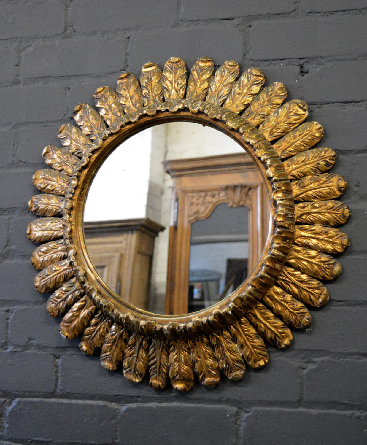 French Art Deco gilt Sun burst mirror