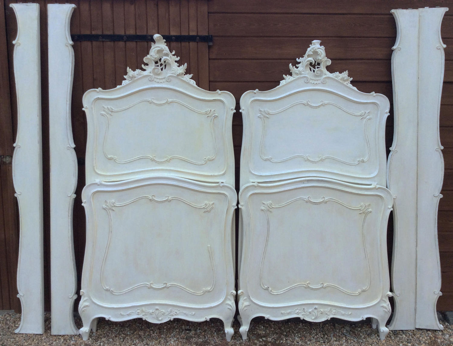 Pair of 19thC Italian single Louis XV style beds