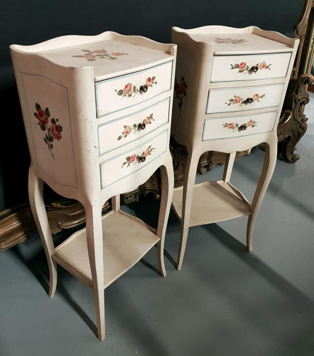 Hand Painted Pair of Louis XV bedsides