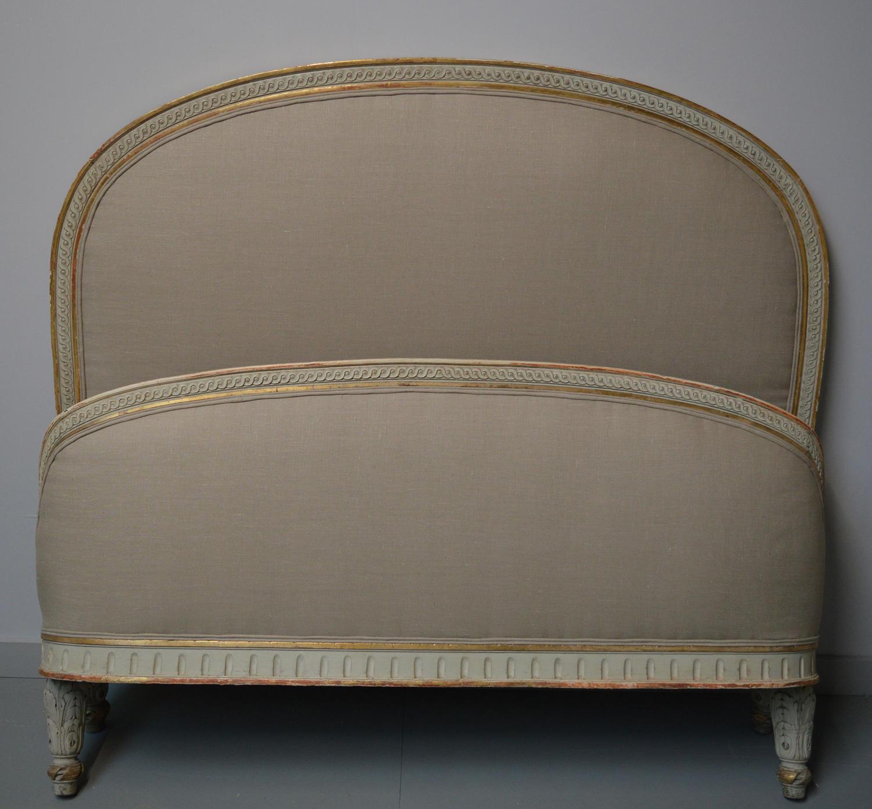 Louis XVI style double Gilt & Linen Bedstead