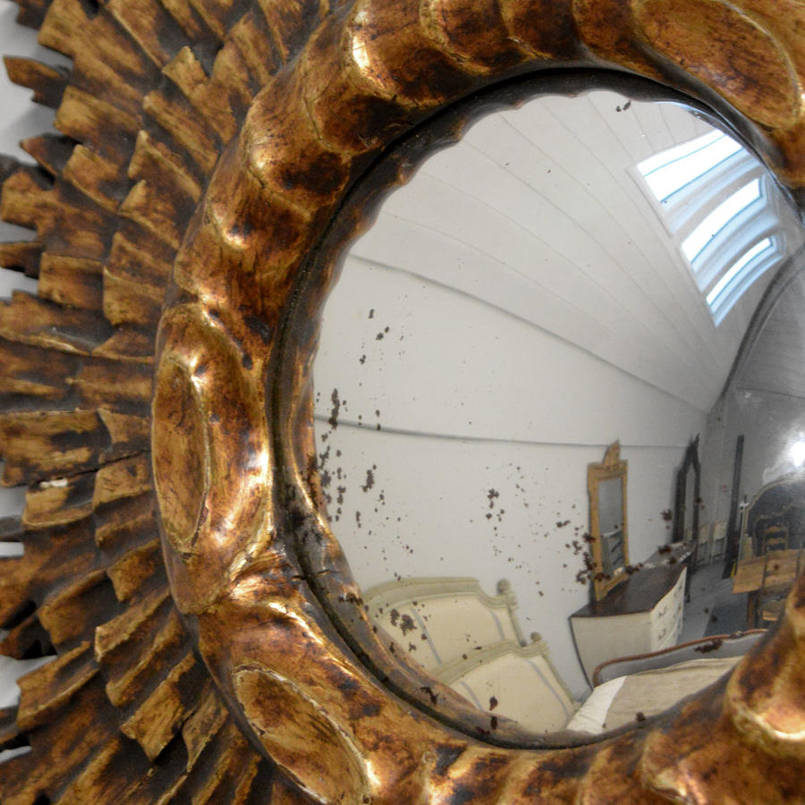 Mid Century Art Deco Gilt Wood Sunburst Convex Mirror