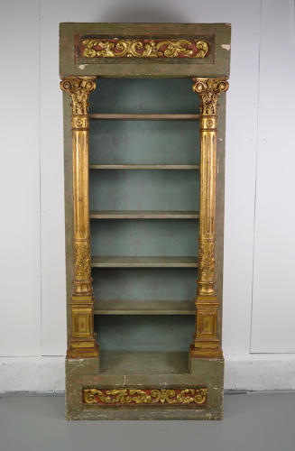 19thC Venetian painted and gilded bookcase