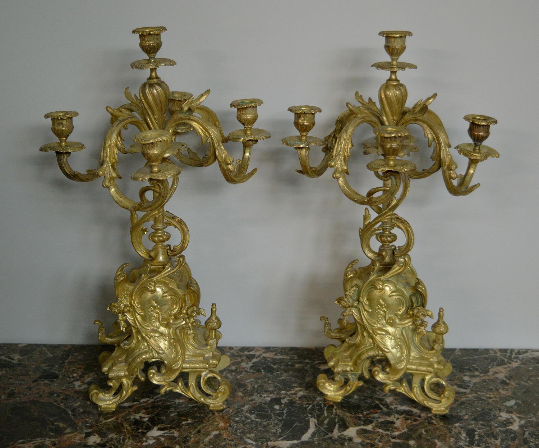 Pair of 19thC Louis XV style Gilt Candelabra
