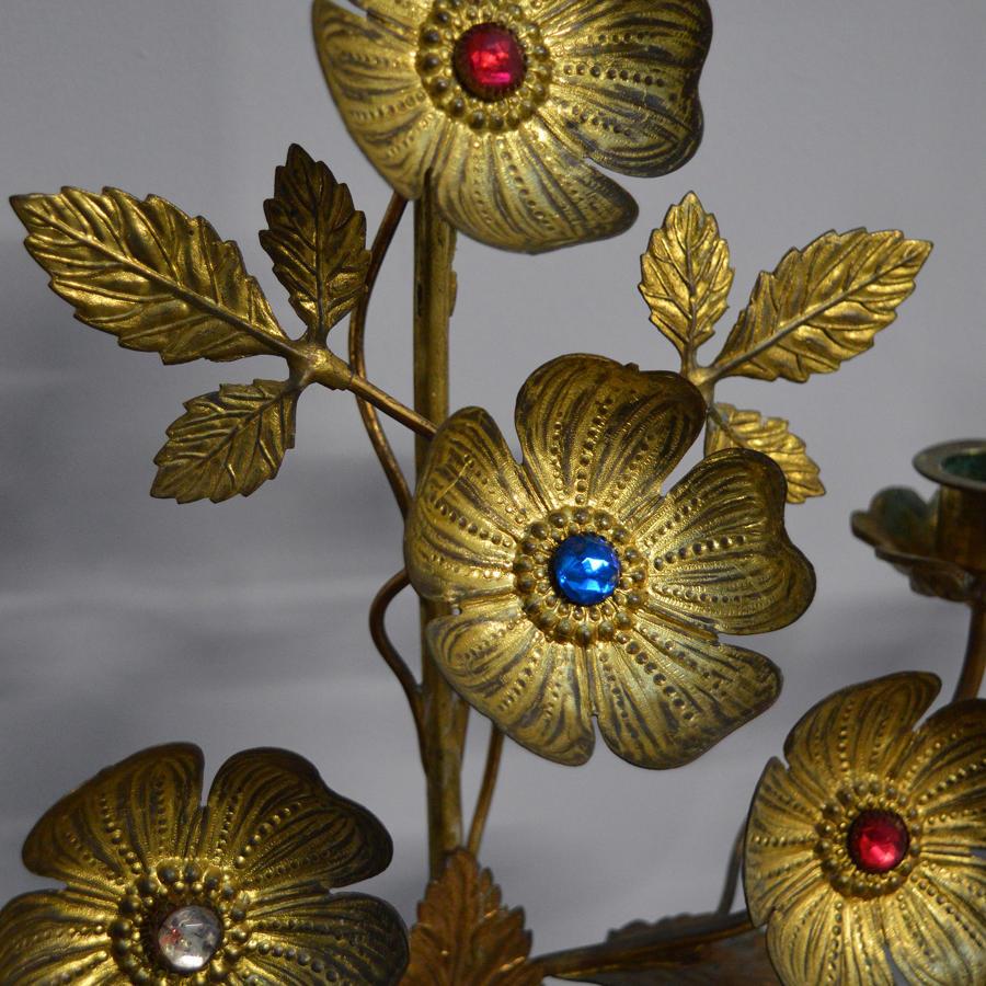 Pair of 19thC Ecclesiastical Gilt brass Candlesticks
