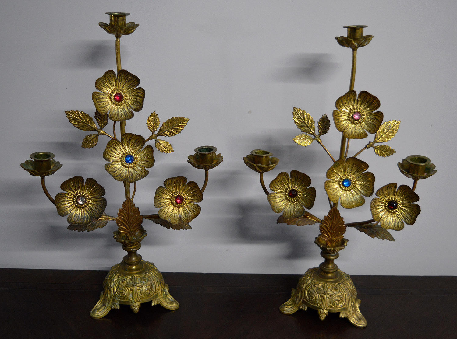 Pair of 19thC Ecclesiastical Gilt brass Candlesticks