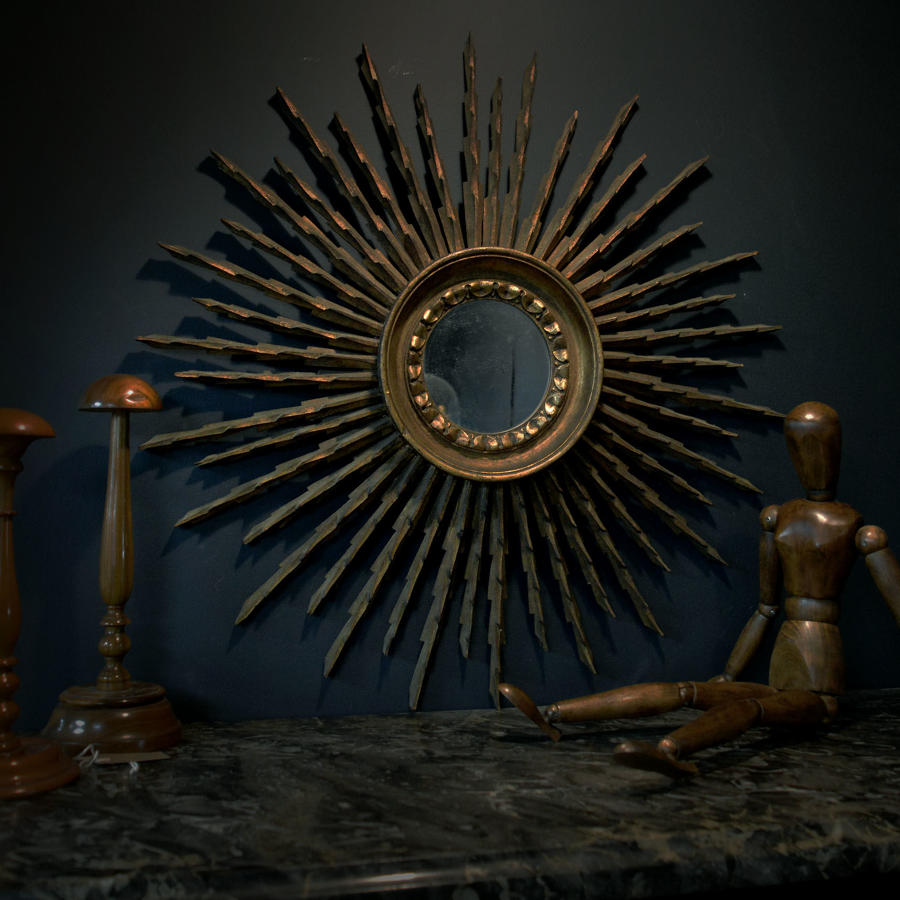 1950's Art Deco Style Gilt Wood Sunburst Mirror
