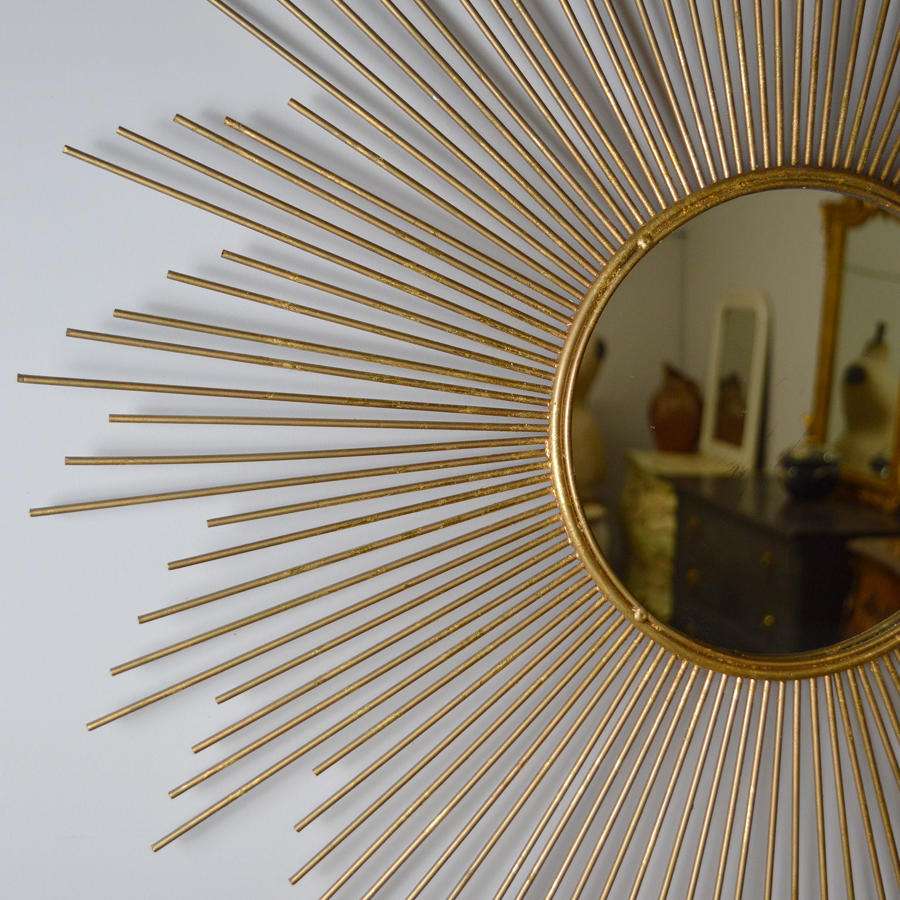 1960's Vintage Gilt Metal Sun Burst Mirror