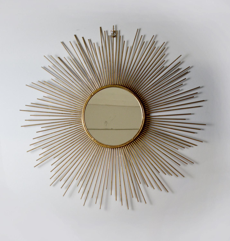 1960's Vintage Gilt Metal Sun Burst Mirror