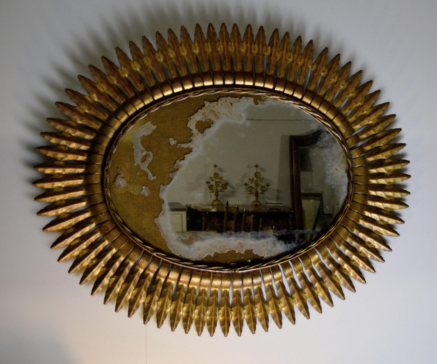 Vintage Spanish Gilt Metal Sunburst Mirror