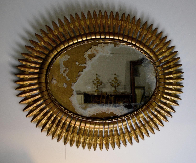 Vintage Spanish Gilt Metal Sunburst Mirror