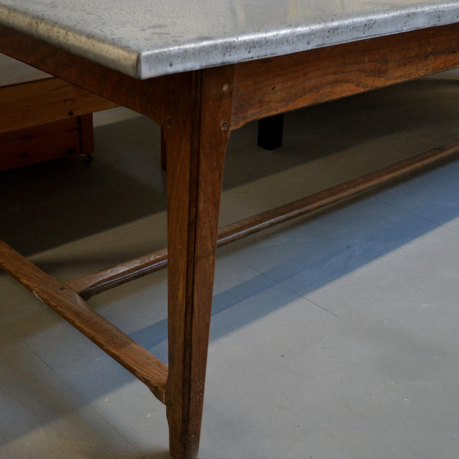 Large 19th Century Oak & Zinc Farmhouse Table