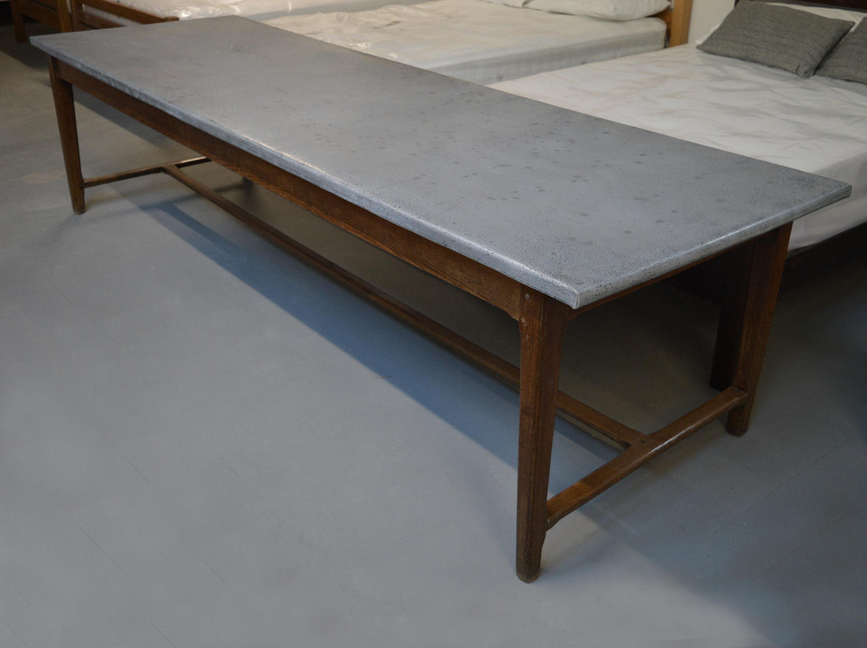 Large 19th Century Oak & Zinc Farmhouse Table