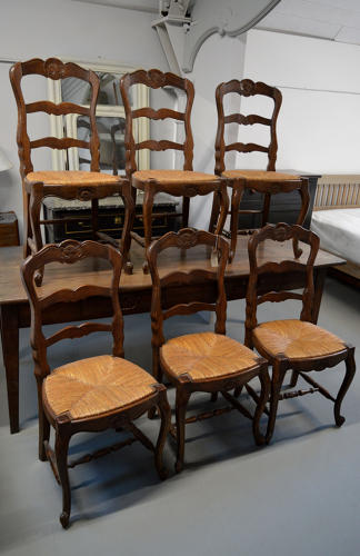 Set of 6 Louis XV style rush seat Farmhouse chairs