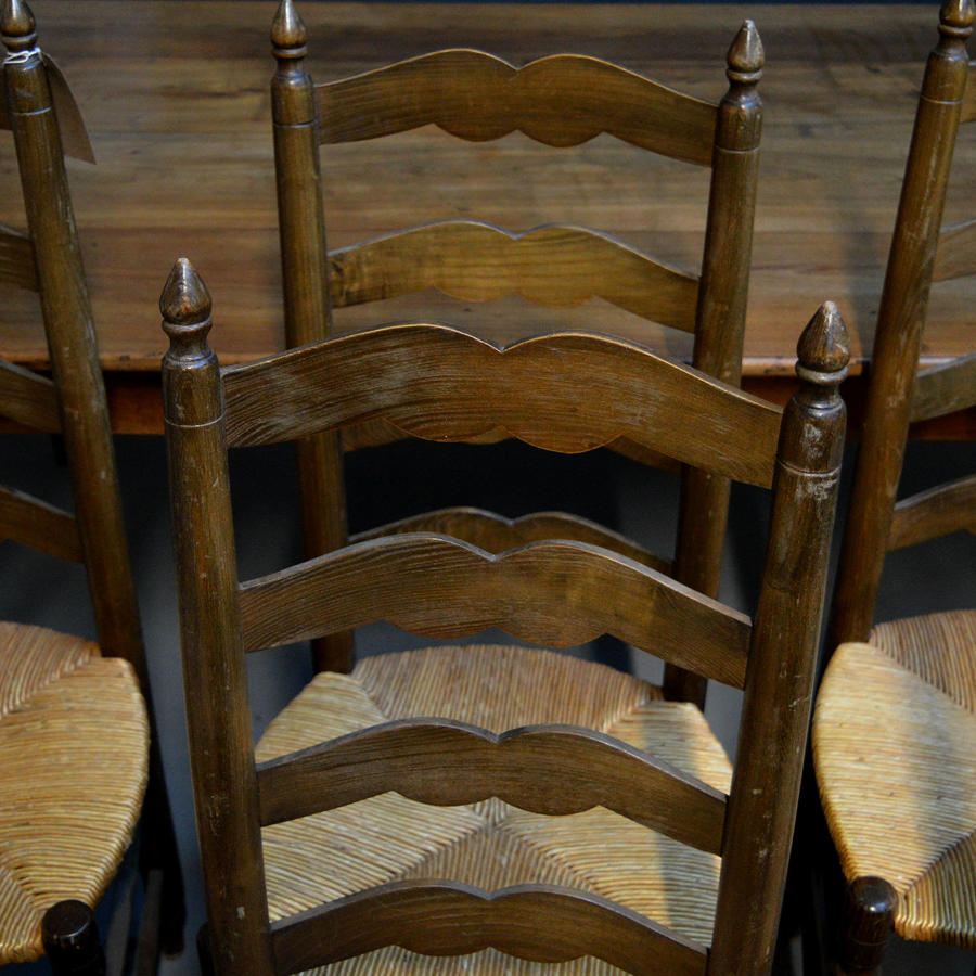 Set of 6 Ladder-back rush seated country chairs