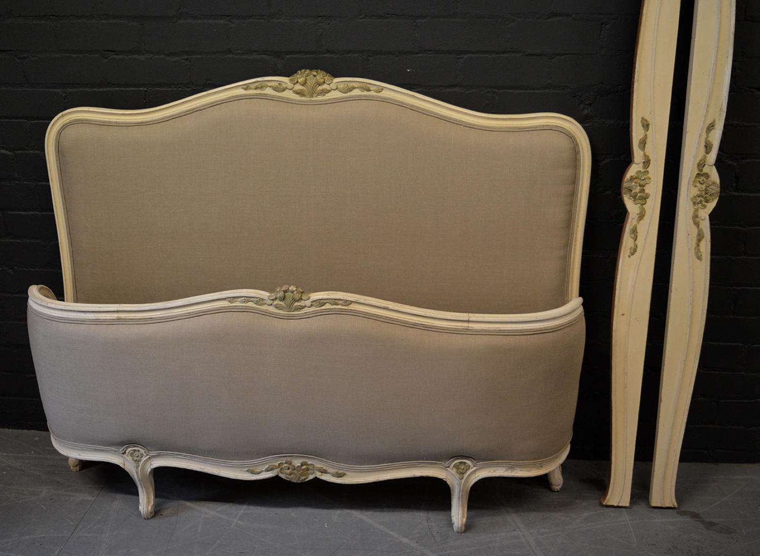 Louis XV style upholstered double bedstead