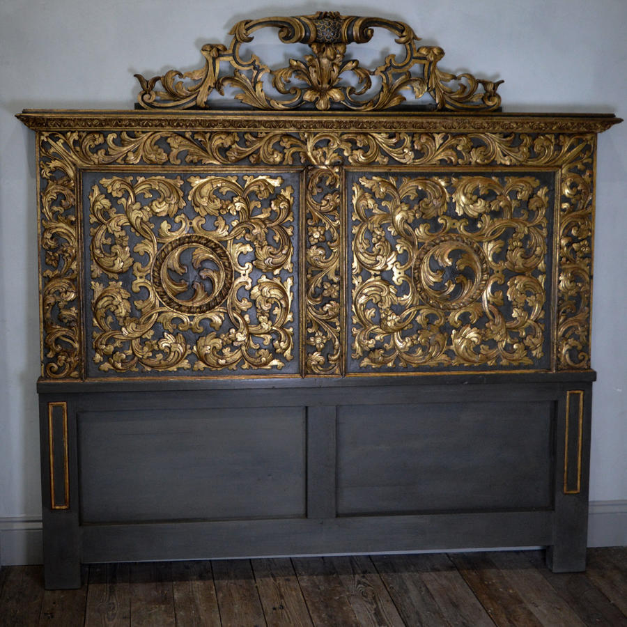 Large 17thC Louis XIV Carved Panel Super-king Head Board