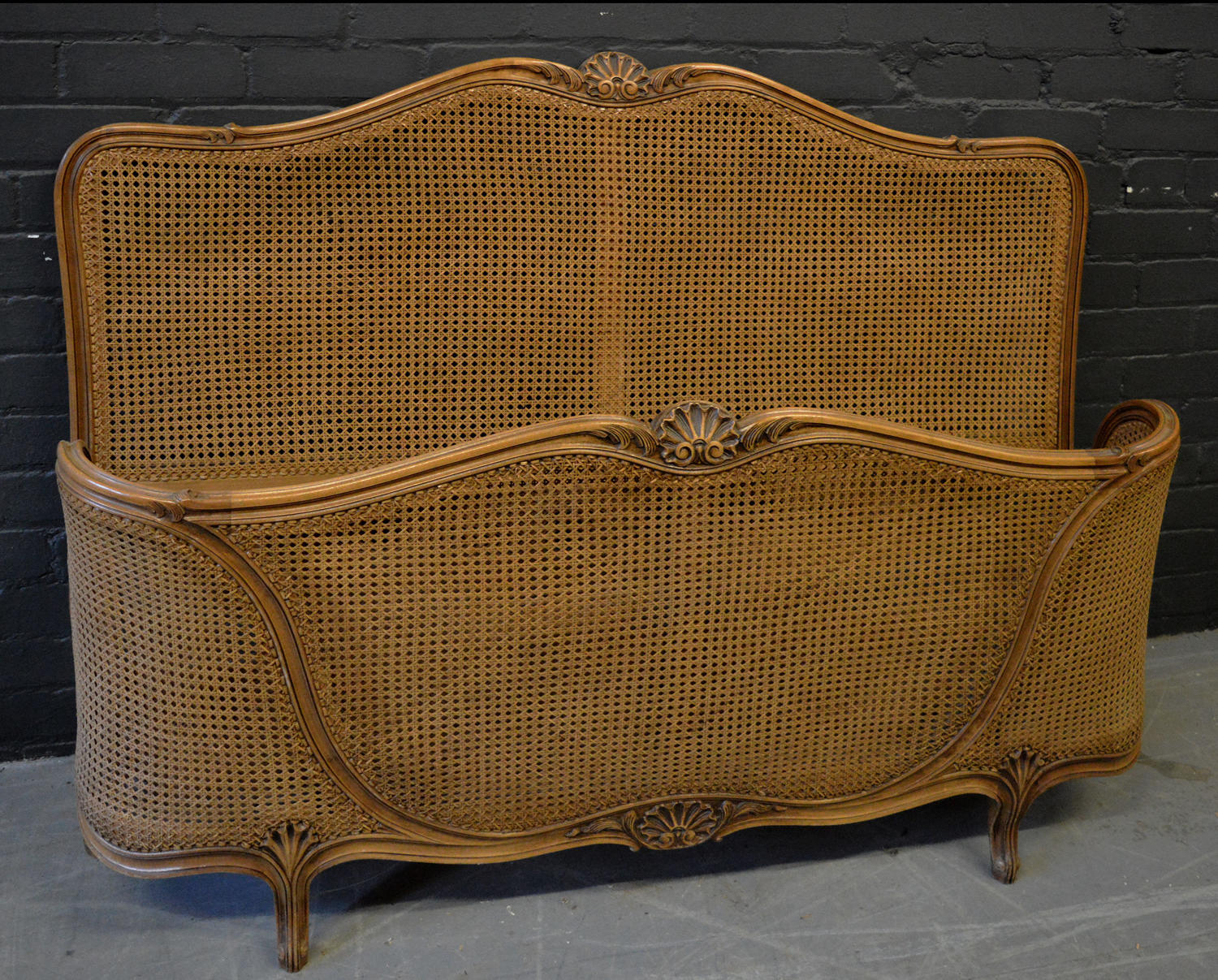 Louis XV style double cane bedstead