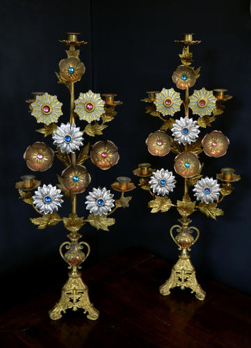 Pair of 19thC Gilt Flowers 5 arm Candlesticks