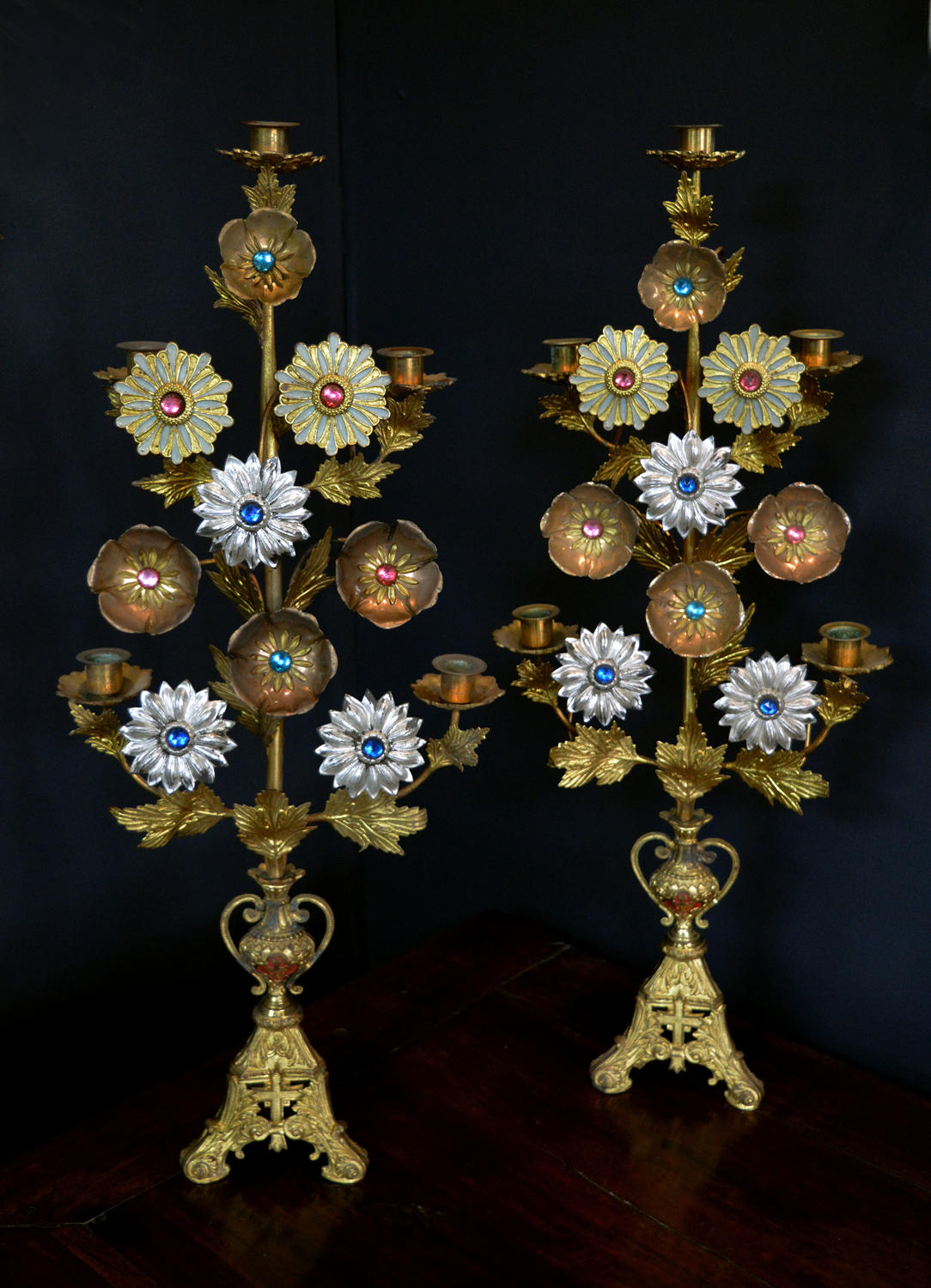 Pair of 19thC Gilt Flowers 5 arm Candlesticks