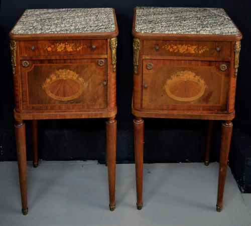 Pair of Empire style marble top bedsides