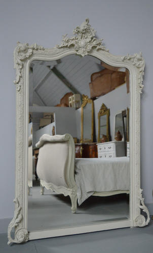 Large 19th Century painted antique white Louis XV French mirror