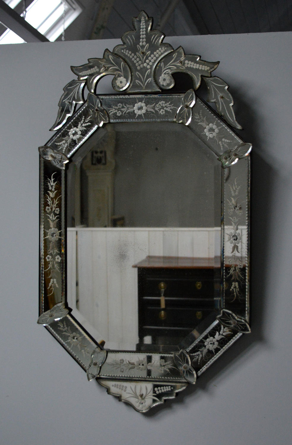 Fine late 19th Century Venetian etched glass mirror