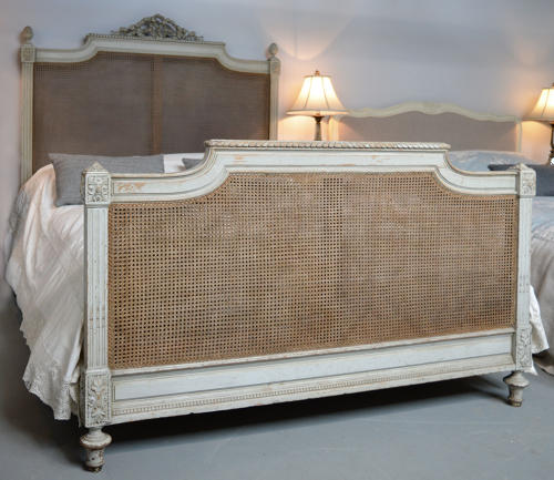 19th Century King-size French Cane Bedstead