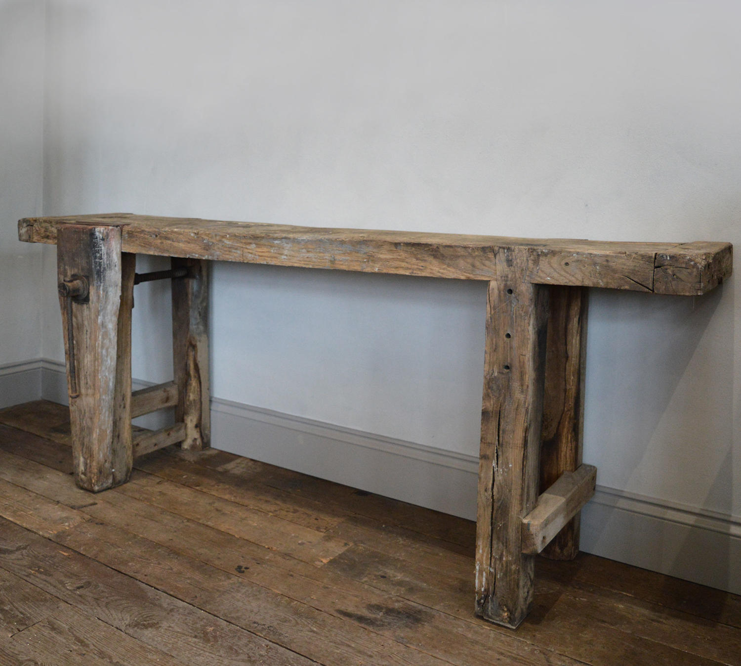 Large 19th Century Oak Carpenters Rustic Workbench