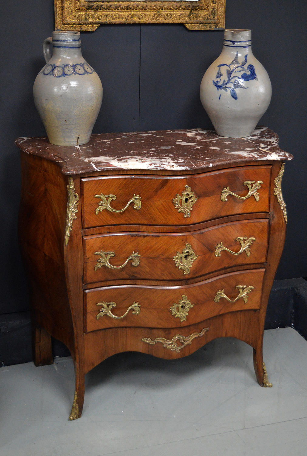 Early 19th Century Louis XV Kingwood bombe commode