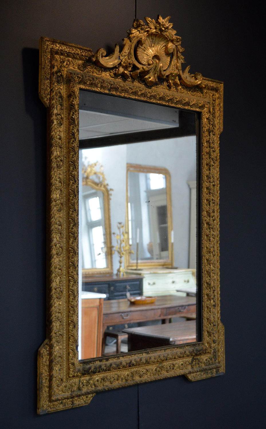 Late 19th Century Gilt frame Louis XVI style wall mirror