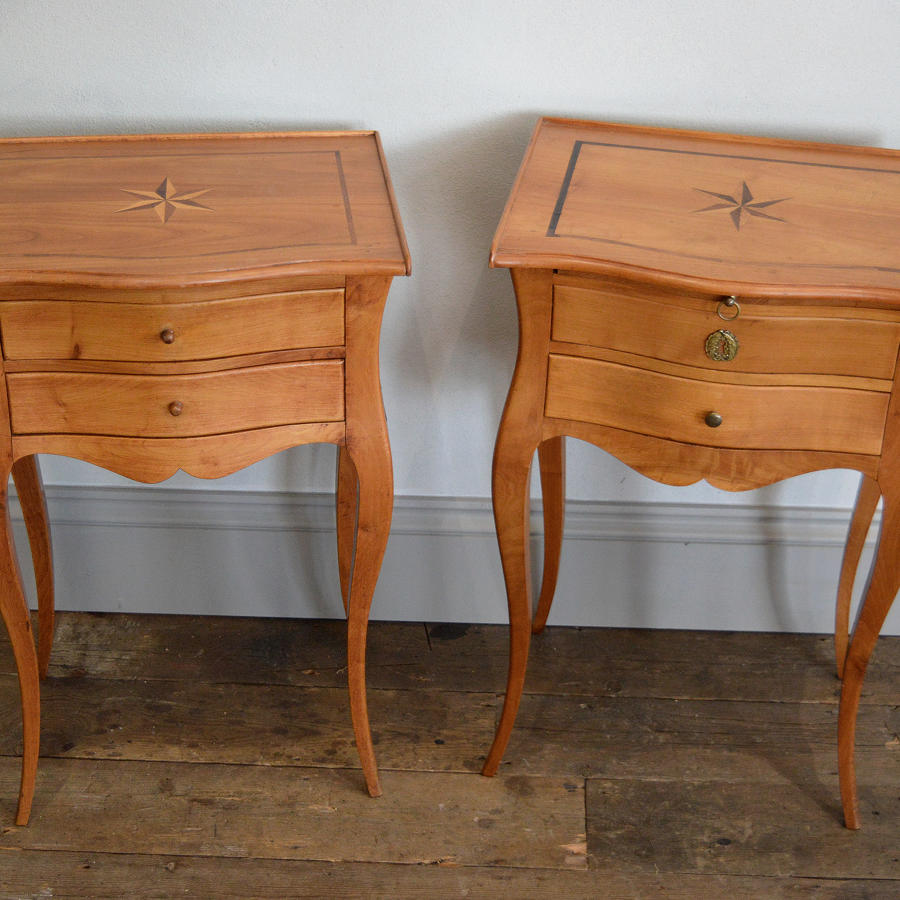 Solid Cherry Louis XV style bedside tables