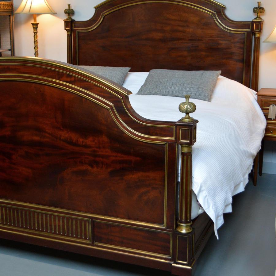 Large King-size 19th Century Flame Mahogany Henri II bedstead