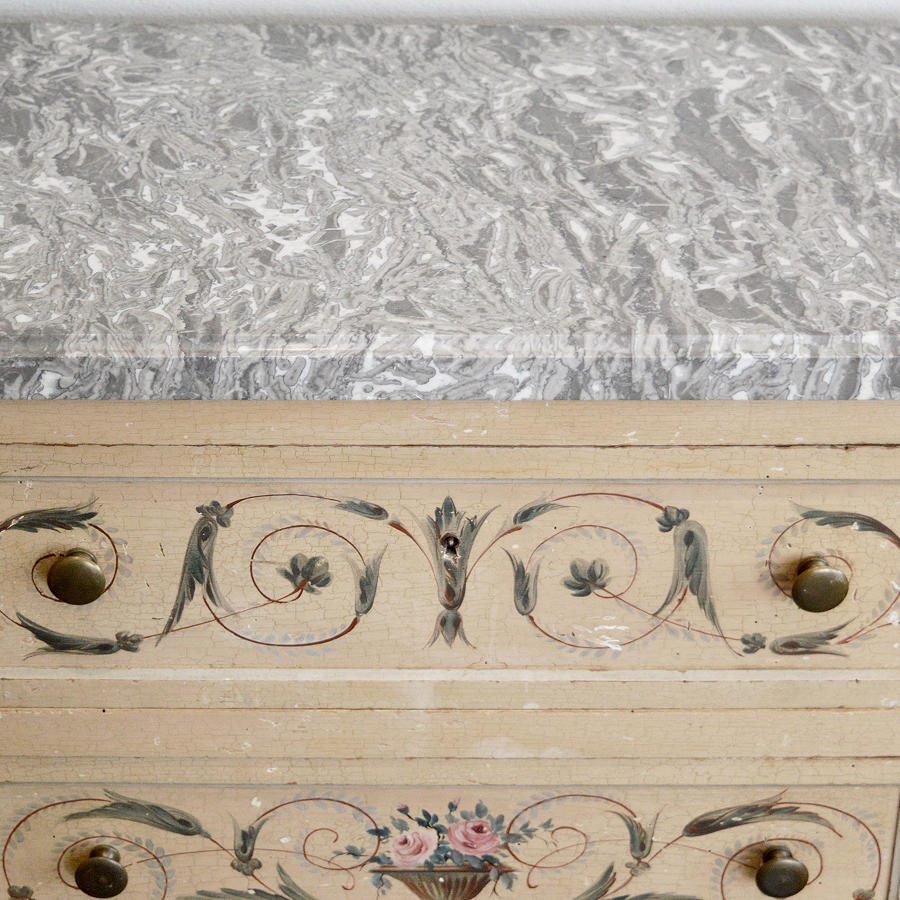 Italian Hand painted Louis XV style marble topped commode