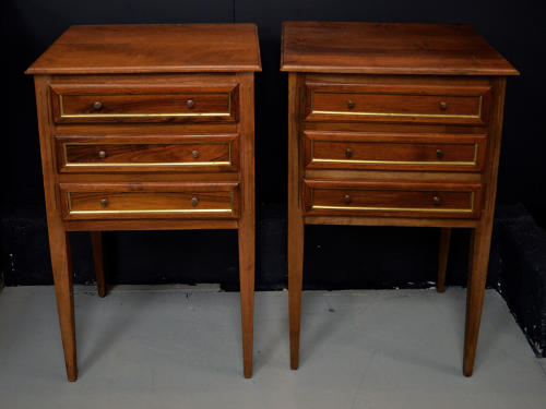 Pair of Solid walnut Directoire style bedside tables
