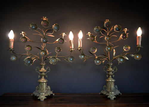 Pair of Large Floral Brass 5 arm Candlesticks / Lamps