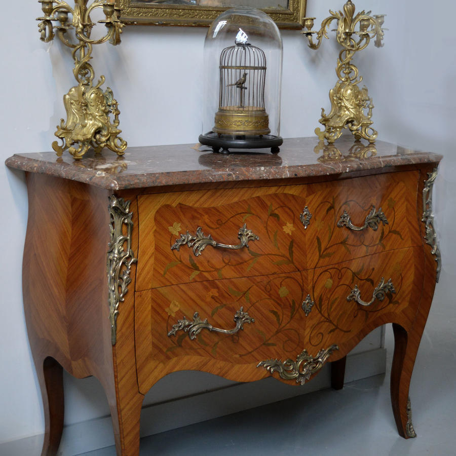 Louis XV style bombe marble top commode