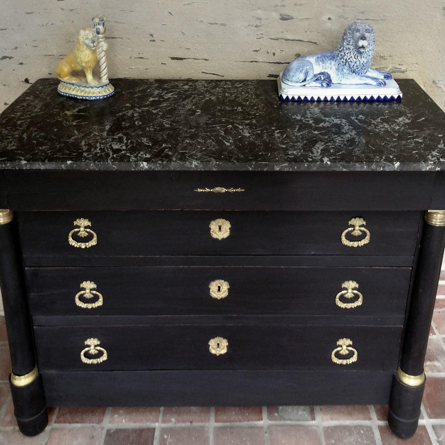 19th Century Empire Marble top Commode