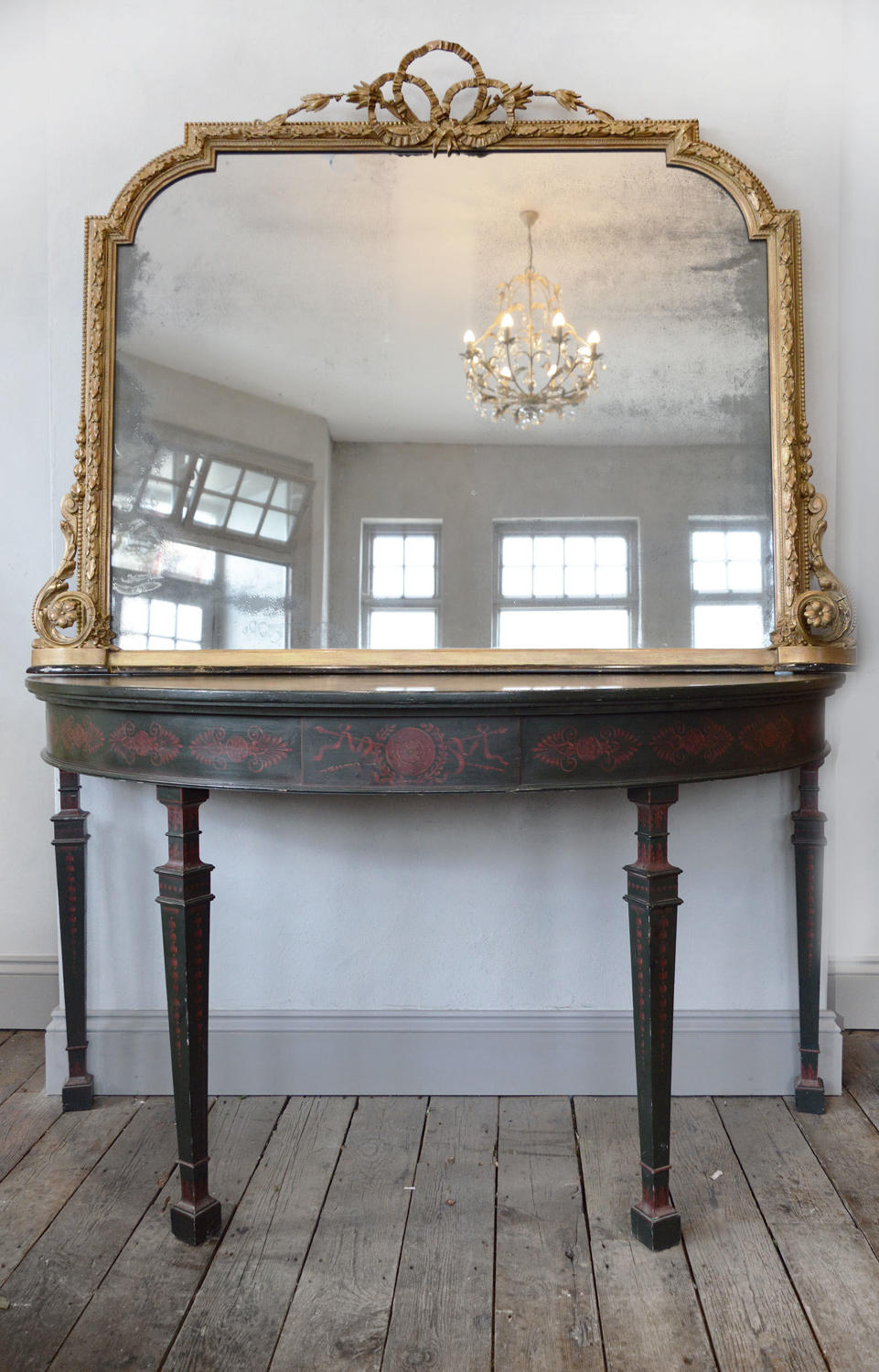 Large Early 19th Century Regency Gilt Overmantle Mirror