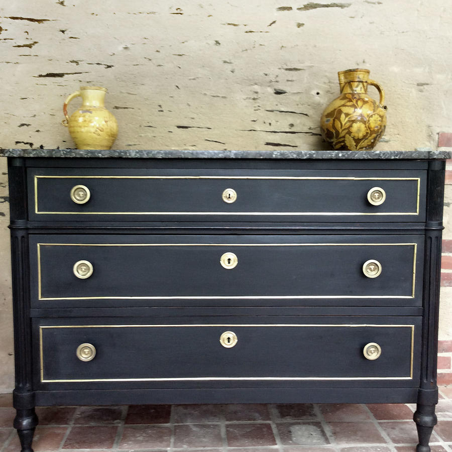 19th Century Louis XVI style marble top commode