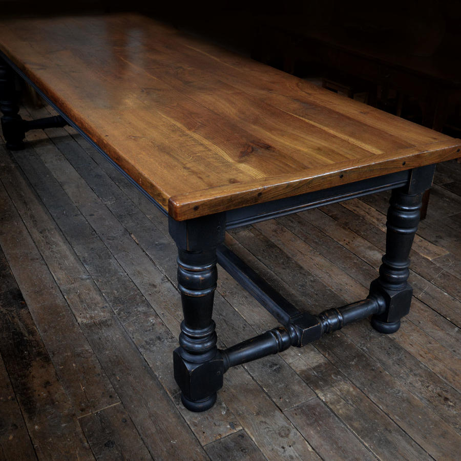 Large Early 20th Century Oak Refectory Table