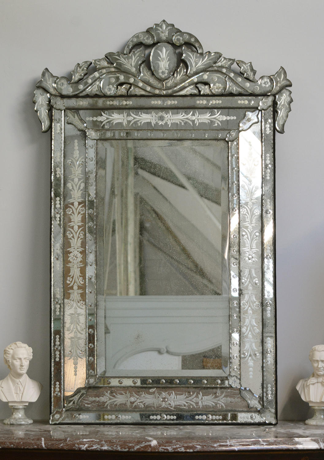 Antique Venetian Cushion Mirror c1910-20