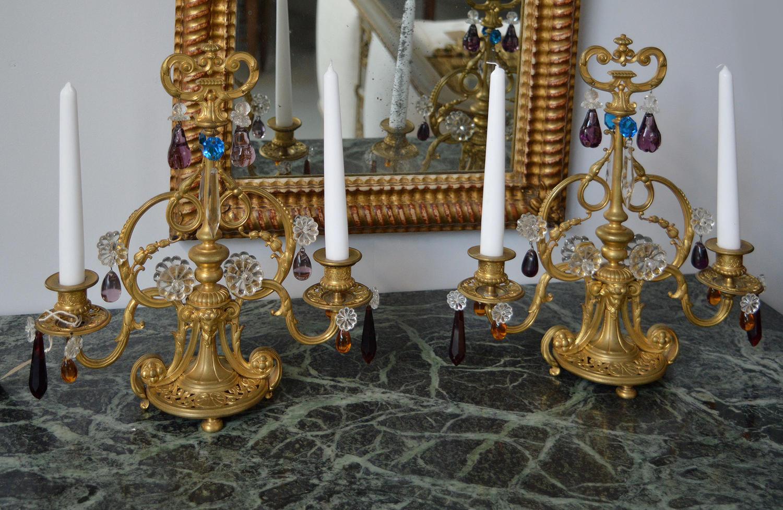 Pair of 19th Century Charles X gilt bronze girandoles / candlesticks