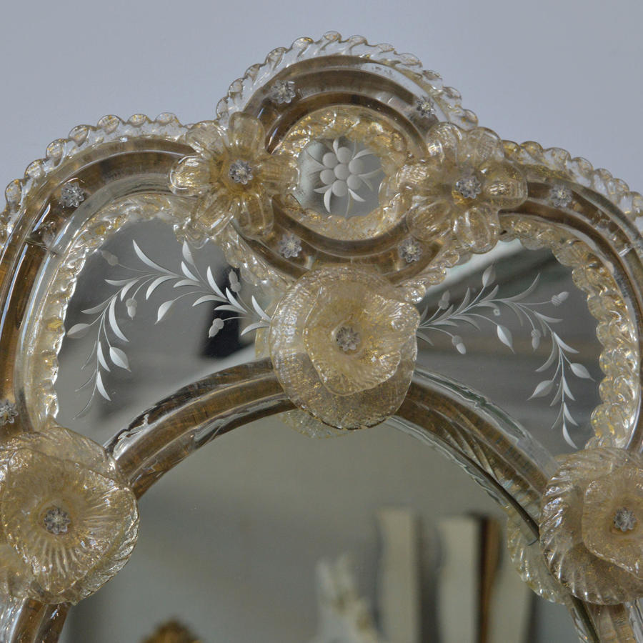 Early 20th Century Venetian Etched Wall mirror