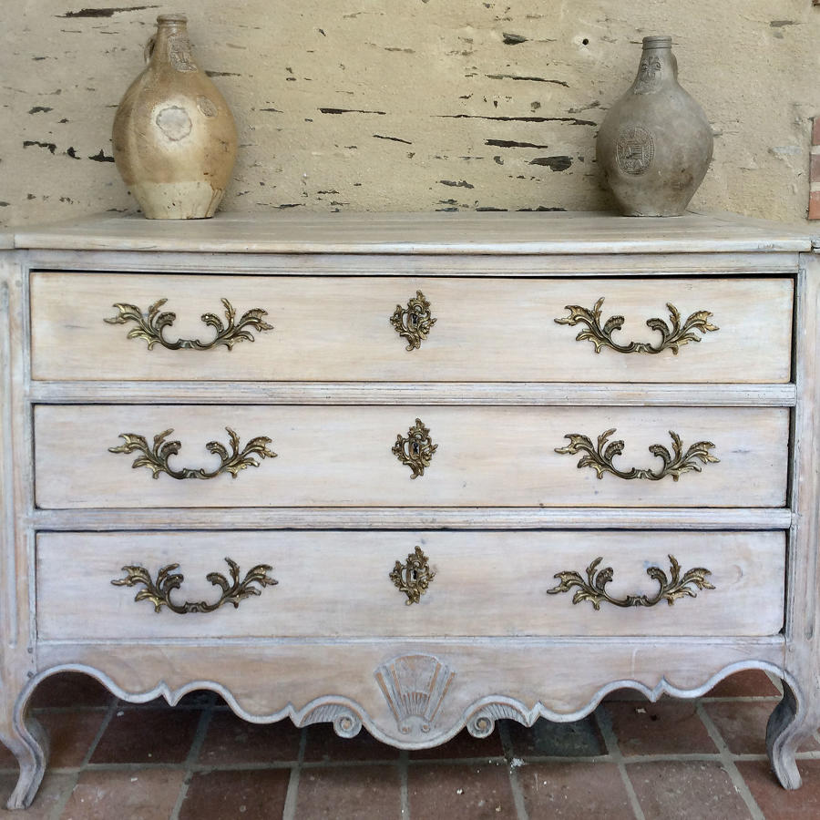18th Century Louis XV lime-washed commode